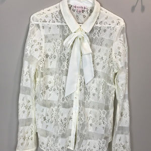 Women's Sz 10 Nanette Lepore Lace Button up blouse